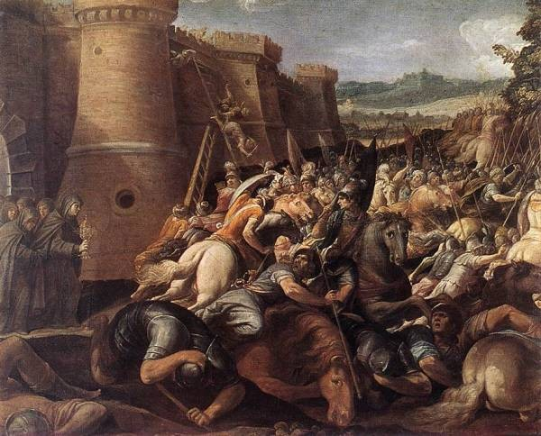 St Clare With The Scene Of The Siege Of Assisi